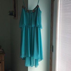Aqua hi lo semi formal dress